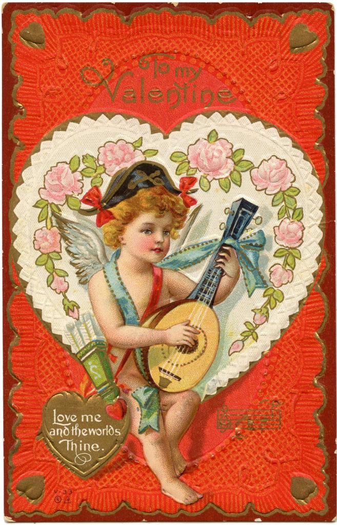 Valentine Cherub Lute Image