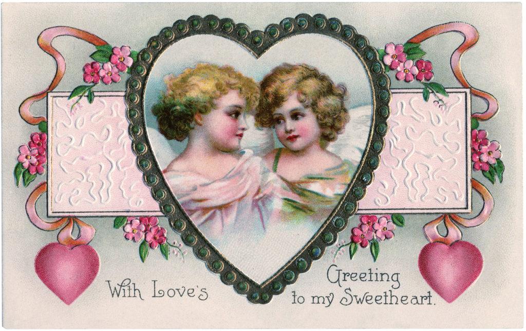 Victorian cherubs valentine heart clipart