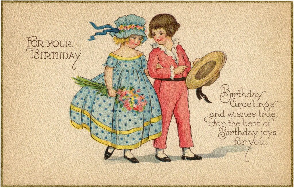 Vintage Couple Birthday Boy Girl Image