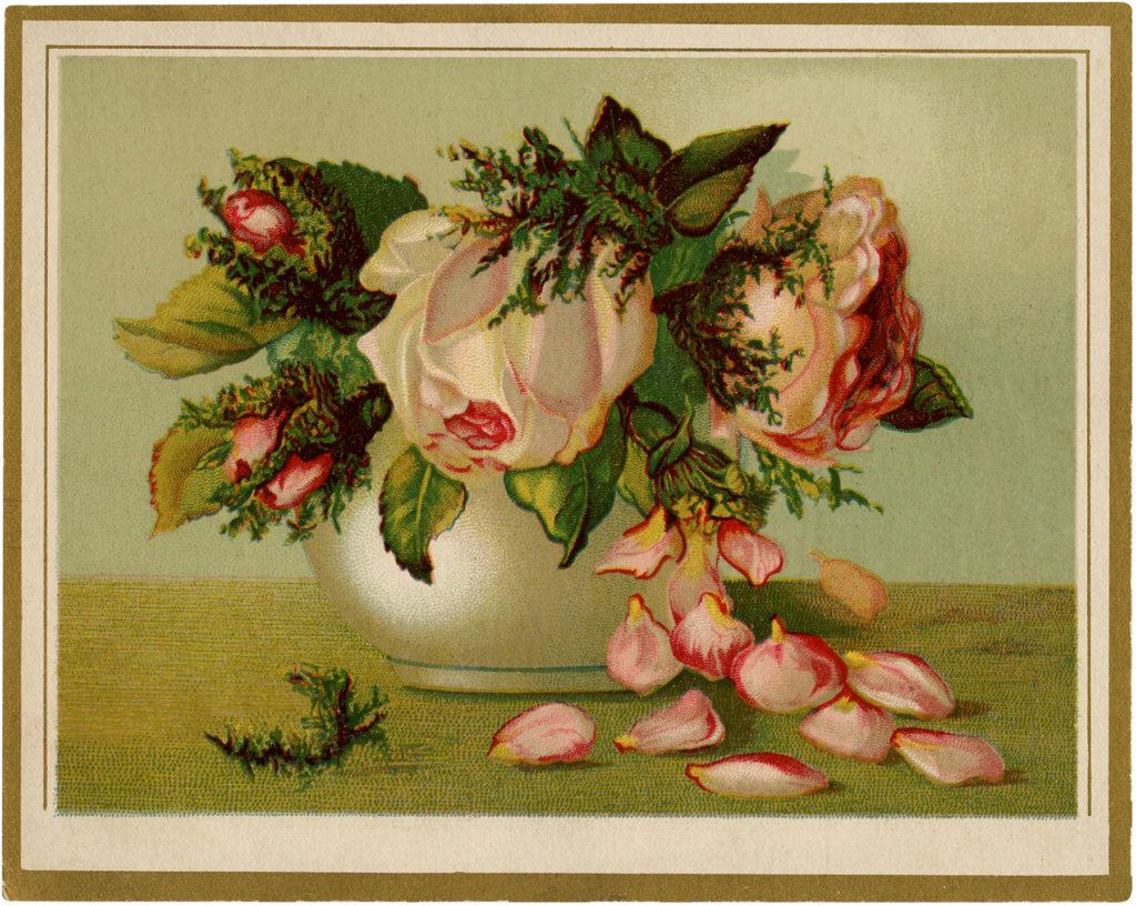 vintage drooping roses rose petals vase illustration