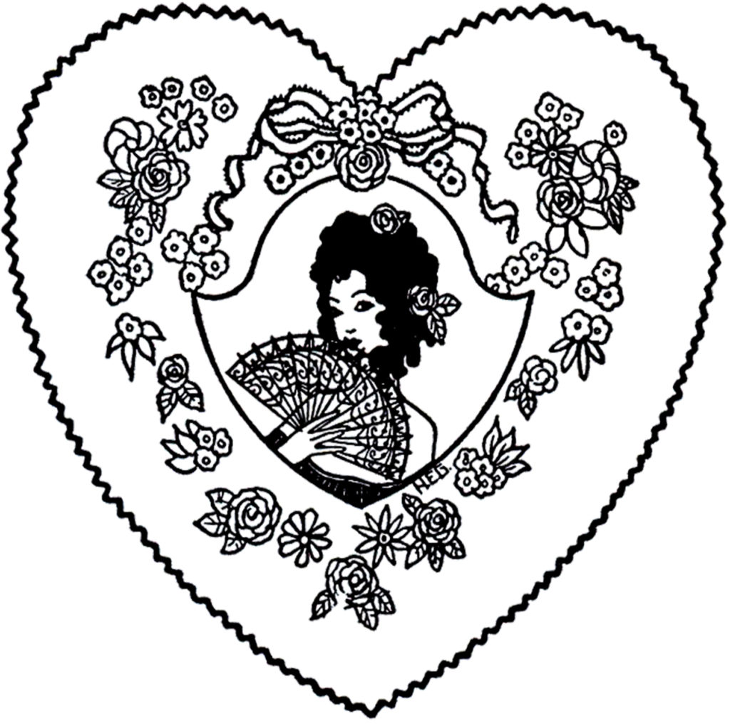 Vintage Lady Fan Heart Black White Clipart