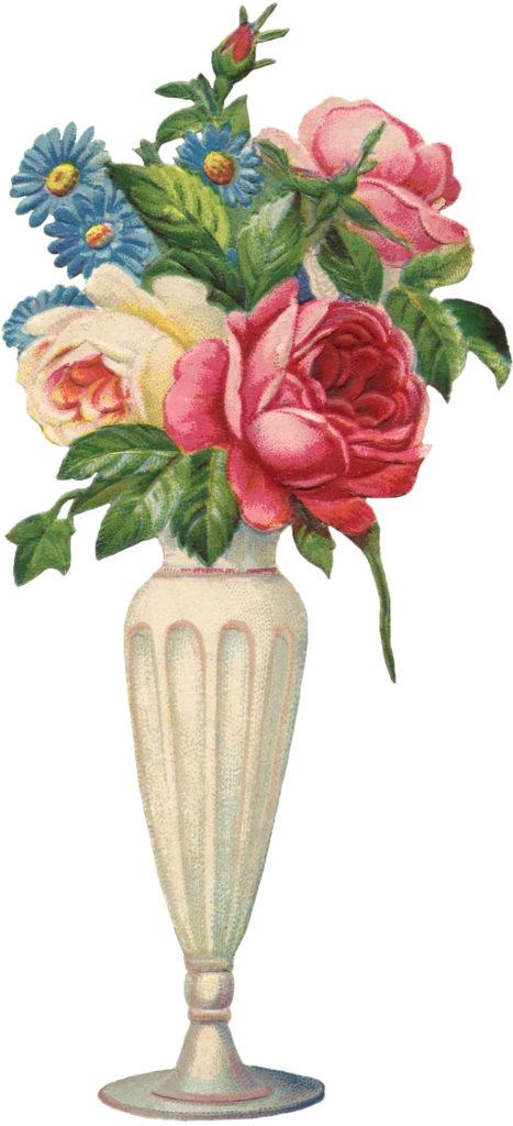 vintage rose bouquet vase image
