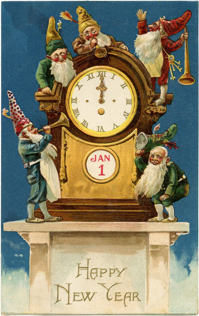 vintage New Years Gnomes clock Clipart