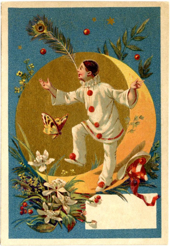 vintage pierrot clown butterfly moon image