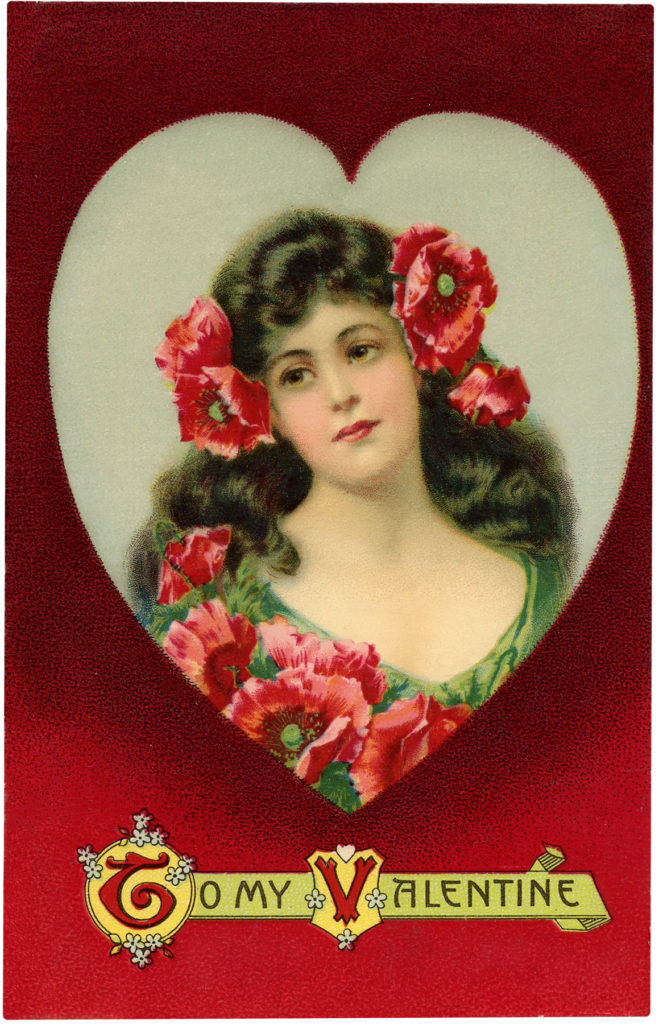Vintage Valentine Beauty Woman Lady Heart Image