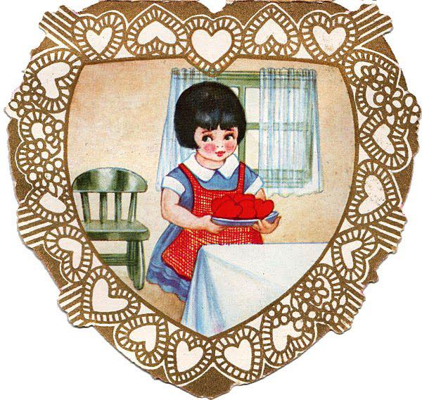 Vintage Valentine Girl Hearts Image