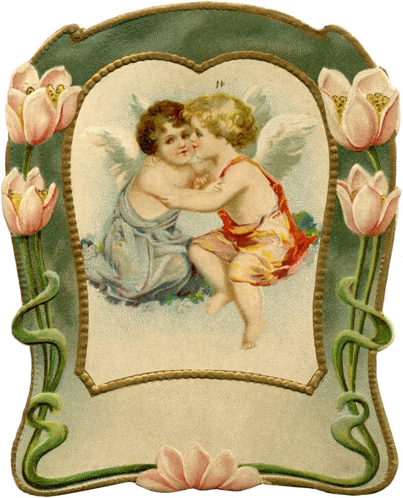 vintage water lily valentine cherubs Image