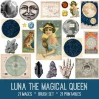 vintage luna the magical queen ephemera bundle