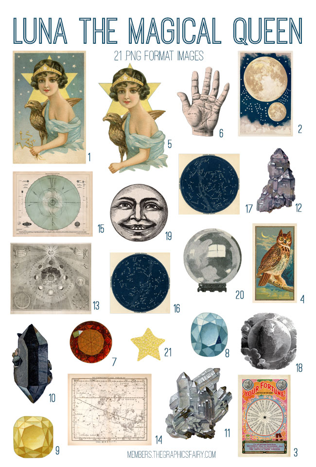 vintage luna the magical queen ephemera digital image bundle