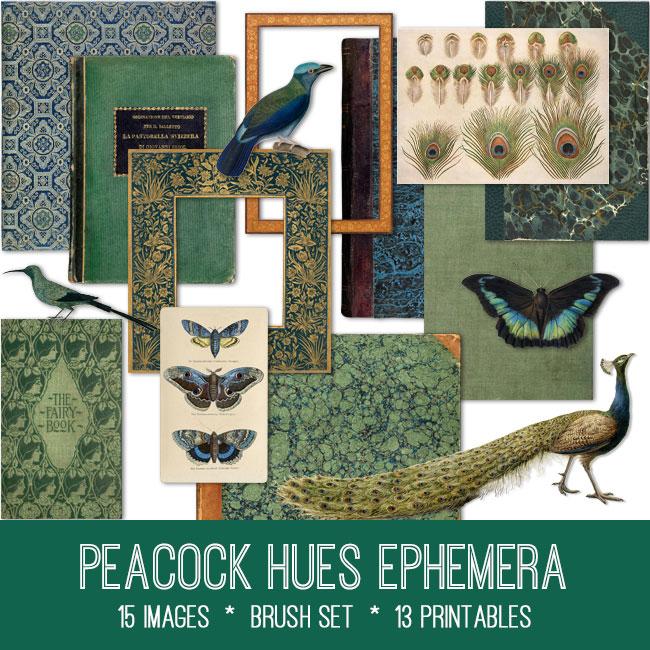 peacock hues ephemera vintage images
