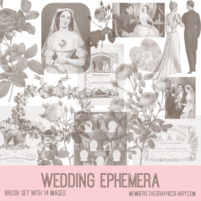 vintage wedding ephemera brush set