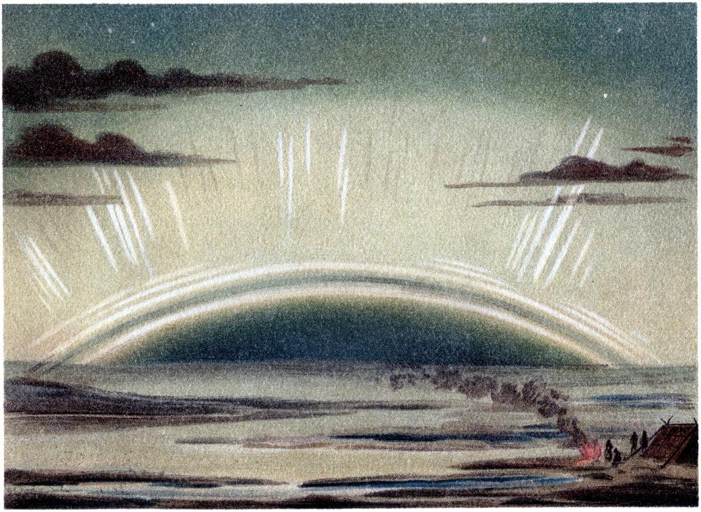 northern lights vintage image