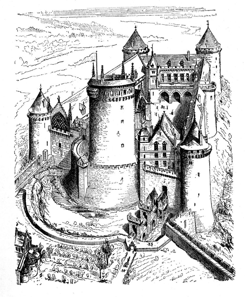 Castle Black White Sketch Clipart