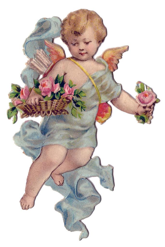 vintage cherub roses image