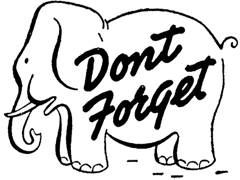 don't forget elephant typography clipart