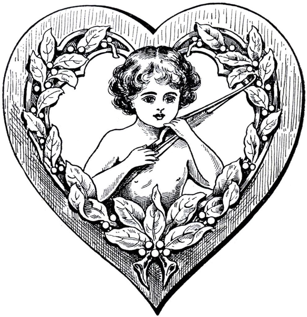 cupid heart frame clipart