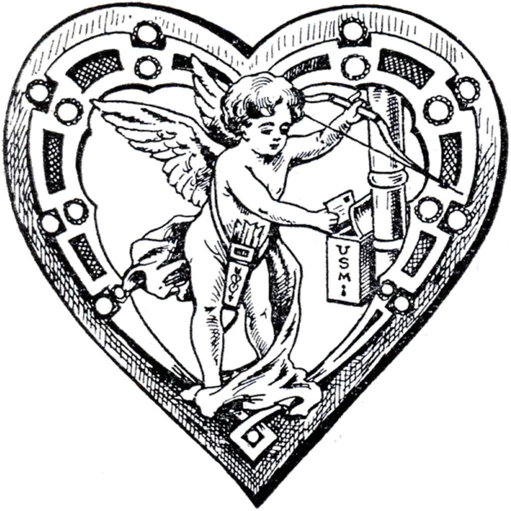 cupid wings mailbox black white image