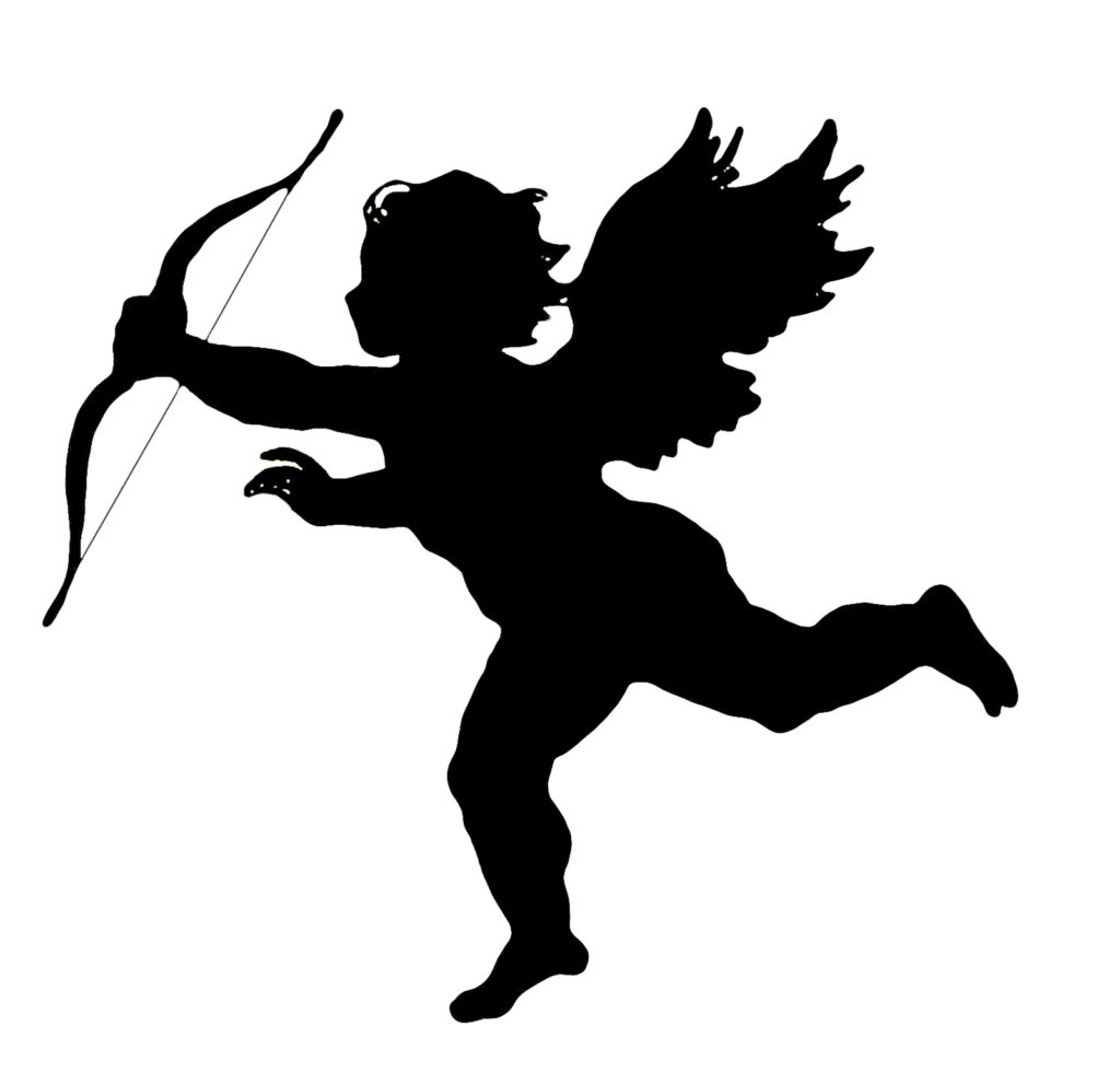 cupid silhouette bow wings clip art