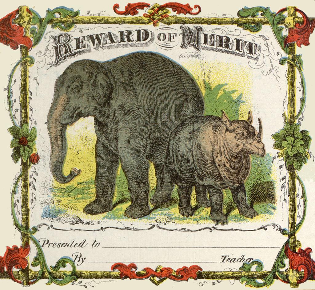 elephants reward of merit vintage typography image