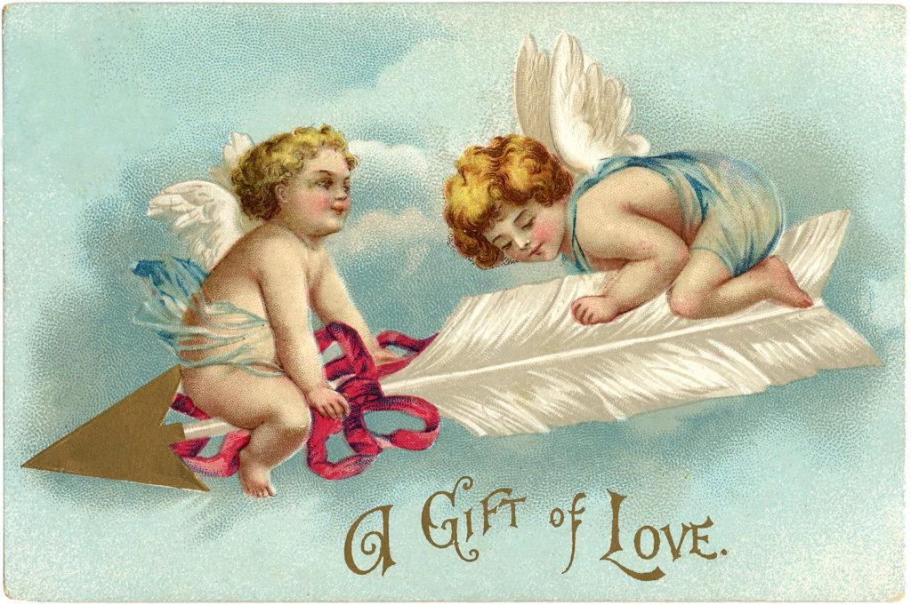 vintage valentine cupids arrow clipart