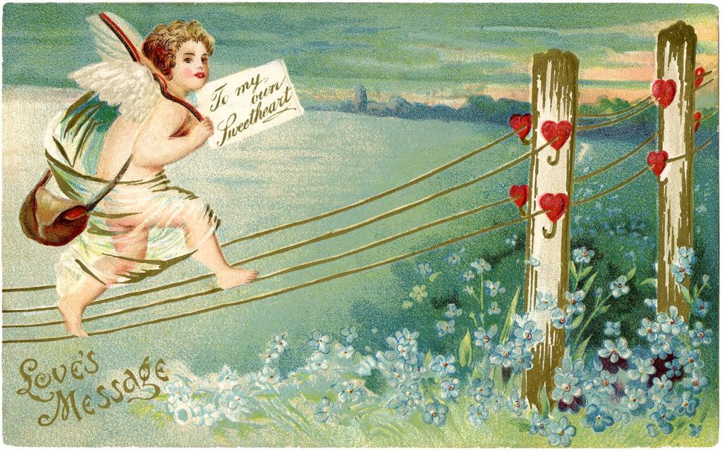 Vintage Valentine Cupid Hearts Mail Image