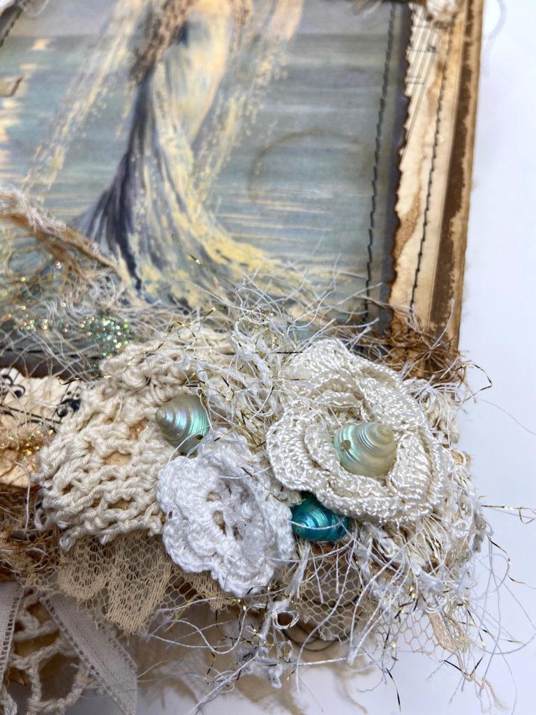 Close up Mermaid Junk Journal details