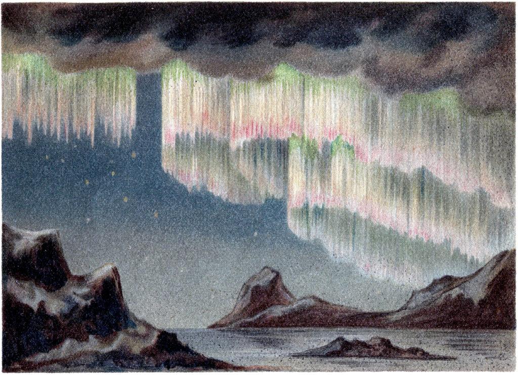 aurora borealis vintage clipart