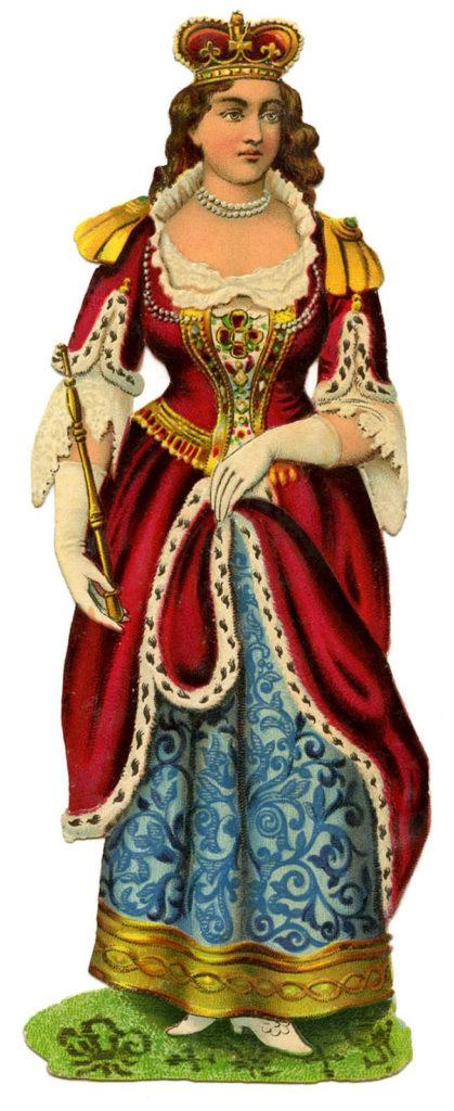 Victorian Queen Robe Scepter Crown Image