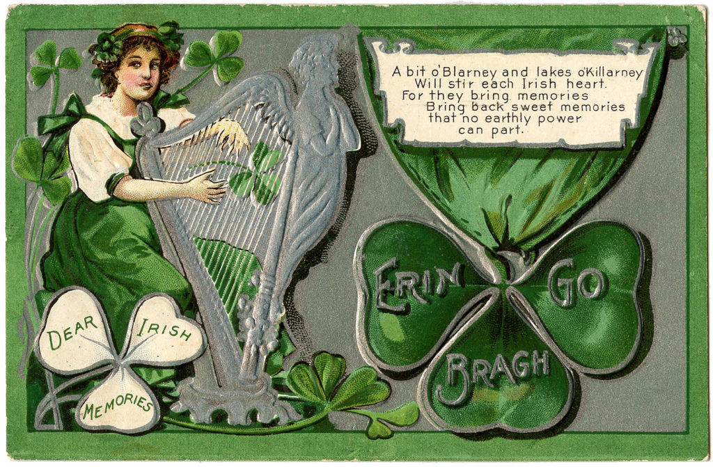 St Patrick's Day Lady Playing Silver Harp
