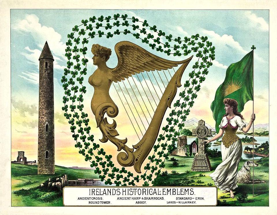 St Patricks Day Harp Ireland Illustration