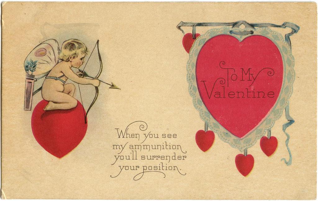 Valentine Cupids Hearts Bow Arrow Clipart