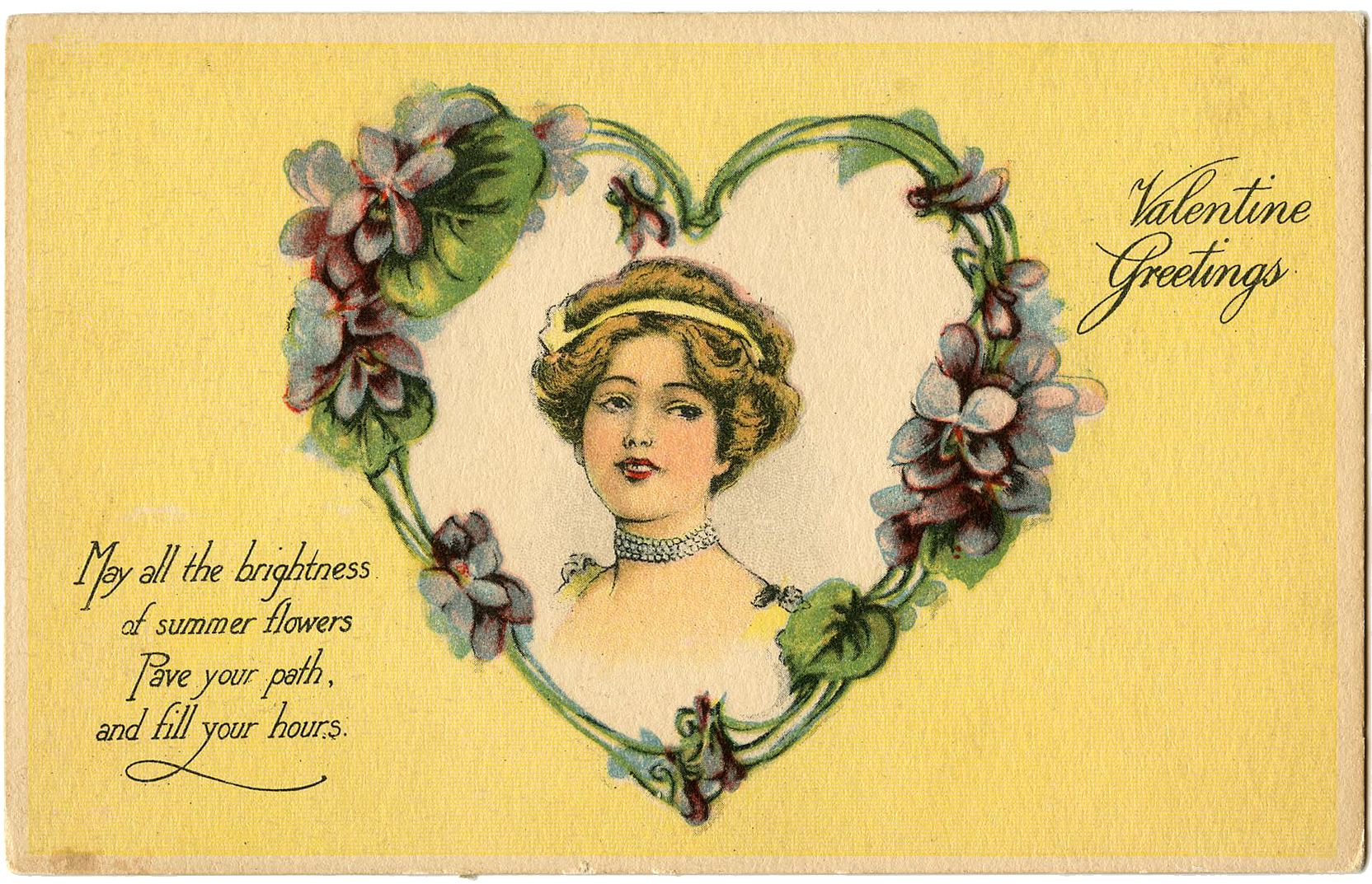 Vintage antique Valentine angel heart small cards scrapbooking crafts set of 6