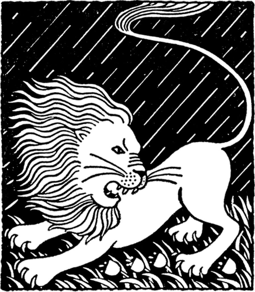 Vintage March Lion Wind Illustration