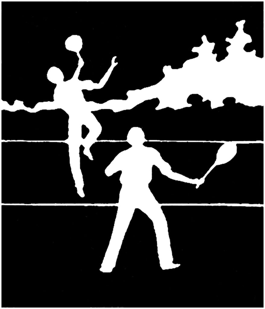 vintage tennis players silhouette image