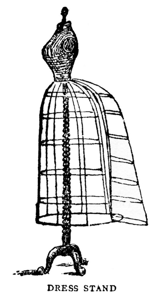 dress form cage vintage illustration
