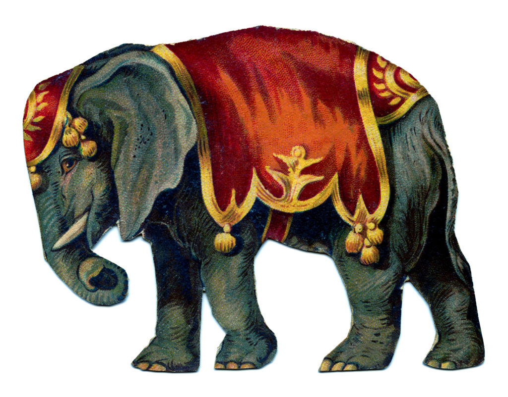 circus elephant red apparel outfit clipart