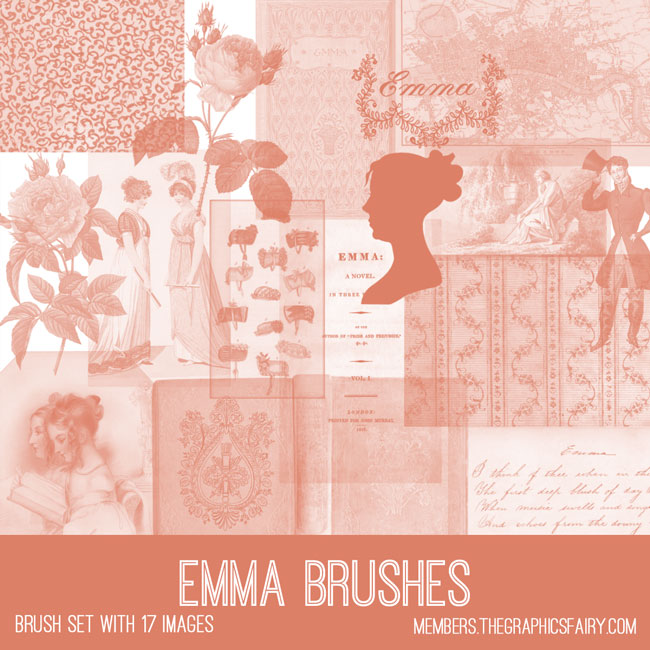 vintage Emma ephemera brush set