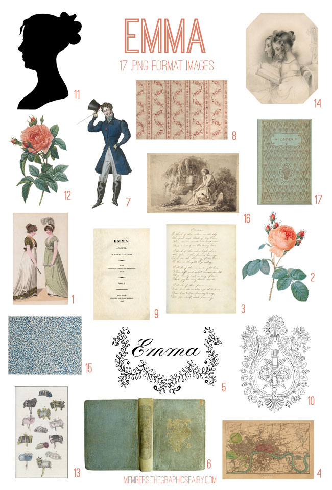 vintage Emma ephemera digital image bundle