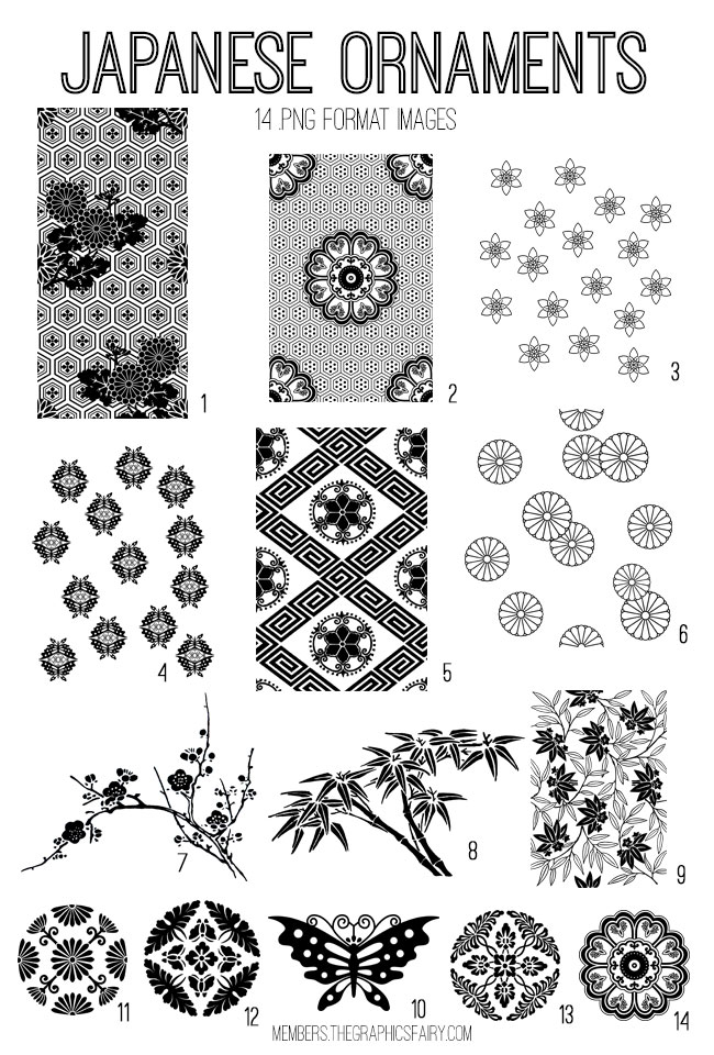 vintage Japanese ornaments ephemera digital image bundle