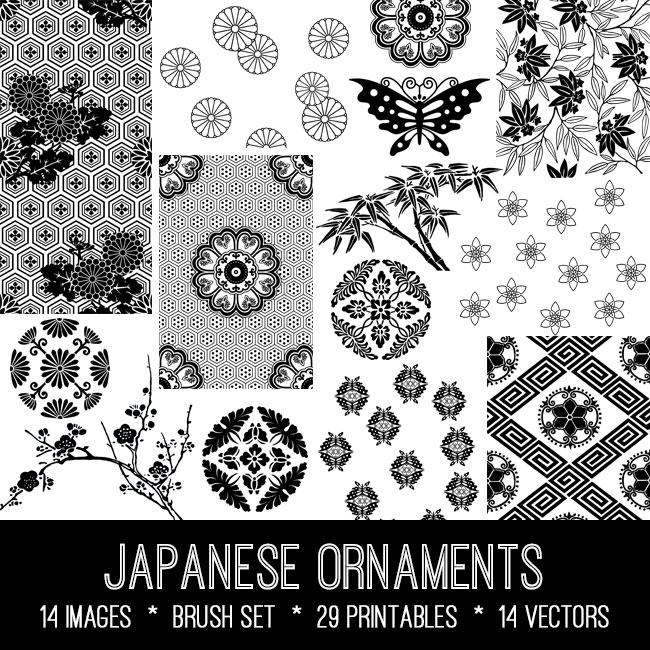 Japanese ornaments vintage images