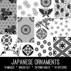 vintage Japanese ornaments ephemera kit