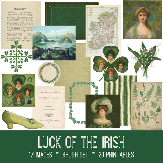 luck of the irish ephemera vintage images