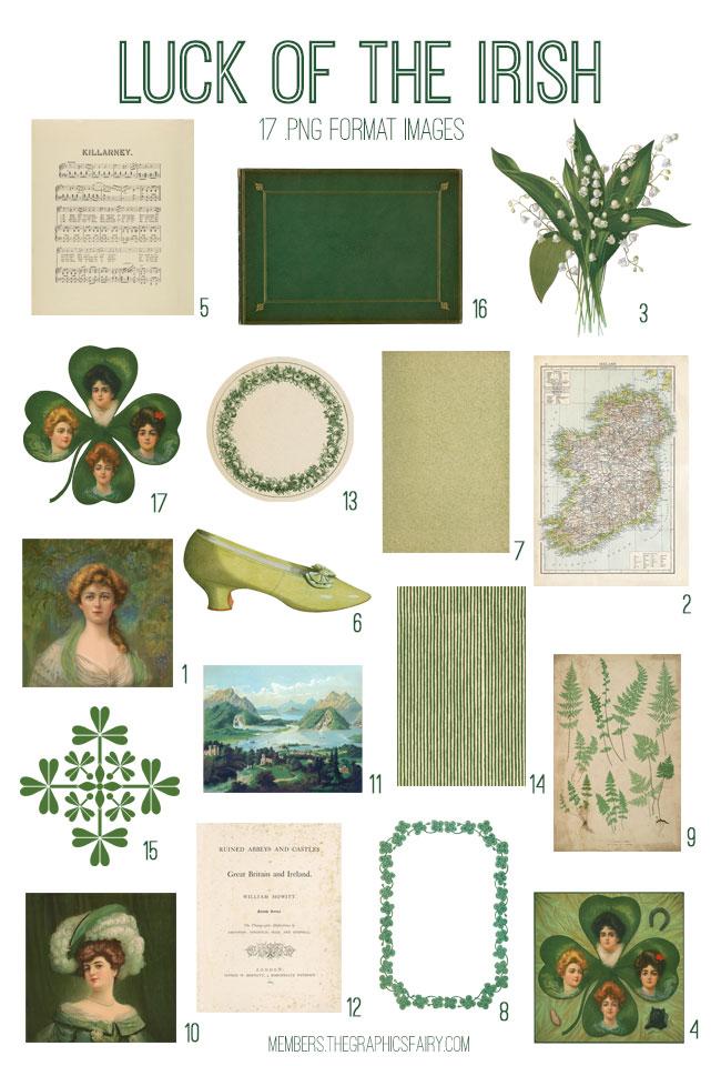 vintage luck of the irish ephemera digital image bundle