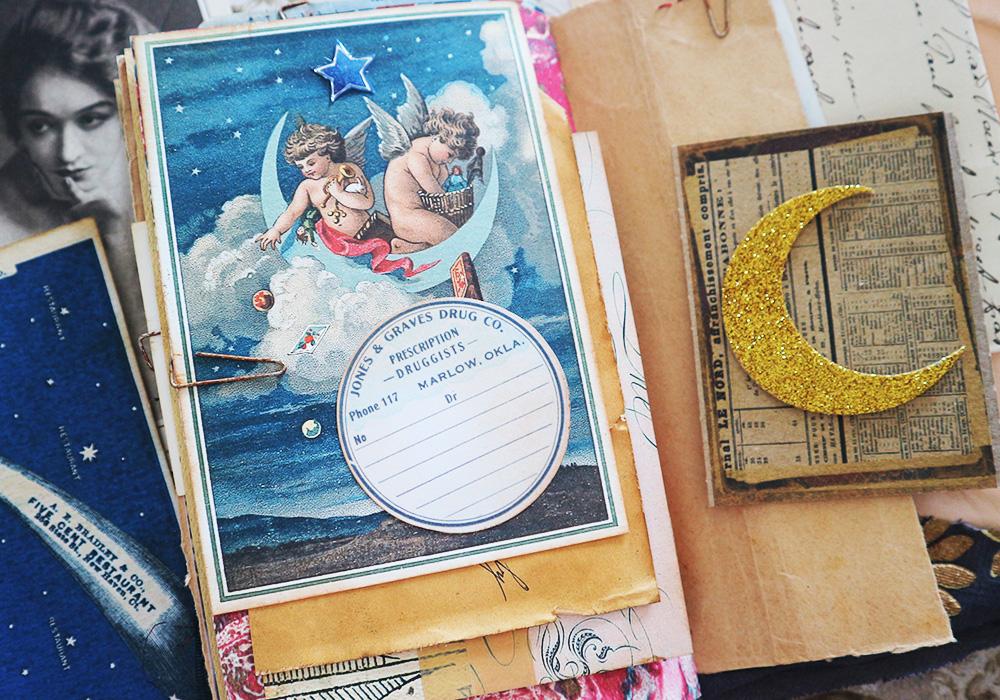 Celestial vintage images Junk Journal Luna Rozu