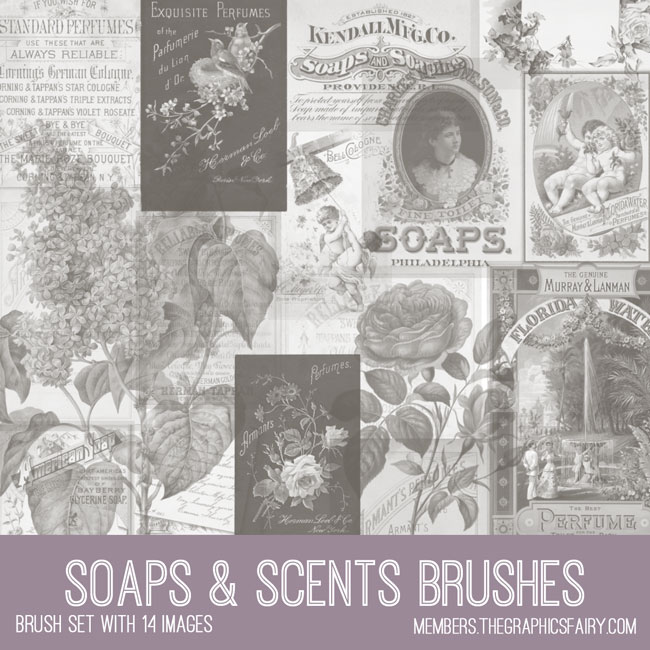 vintage soaps & scents ephemera brush set