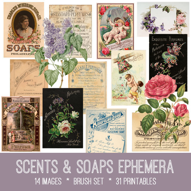vintage scents & soaps ephemera images