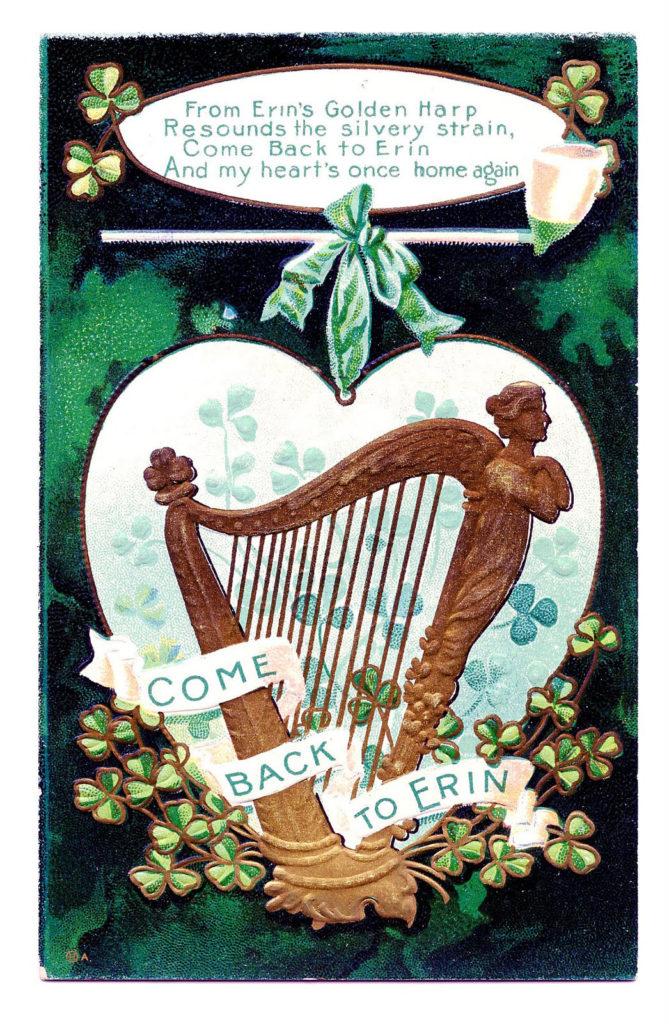 St Patricks Vintage Harp Image