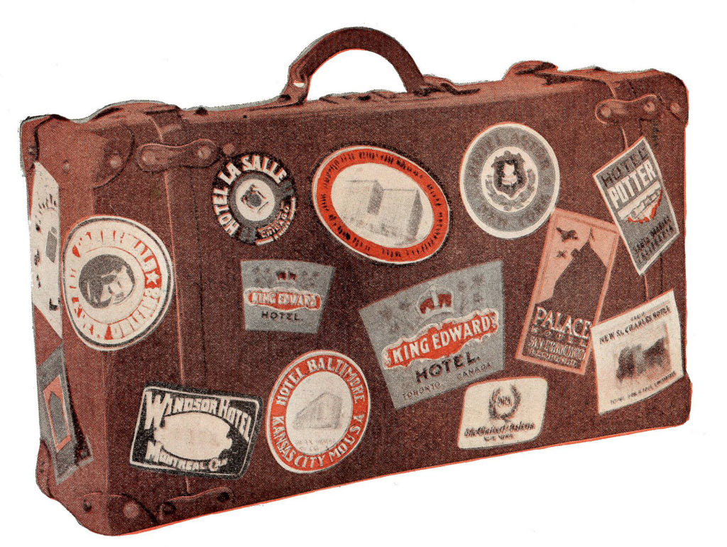 vintage leather suitcase souvenir stickers image