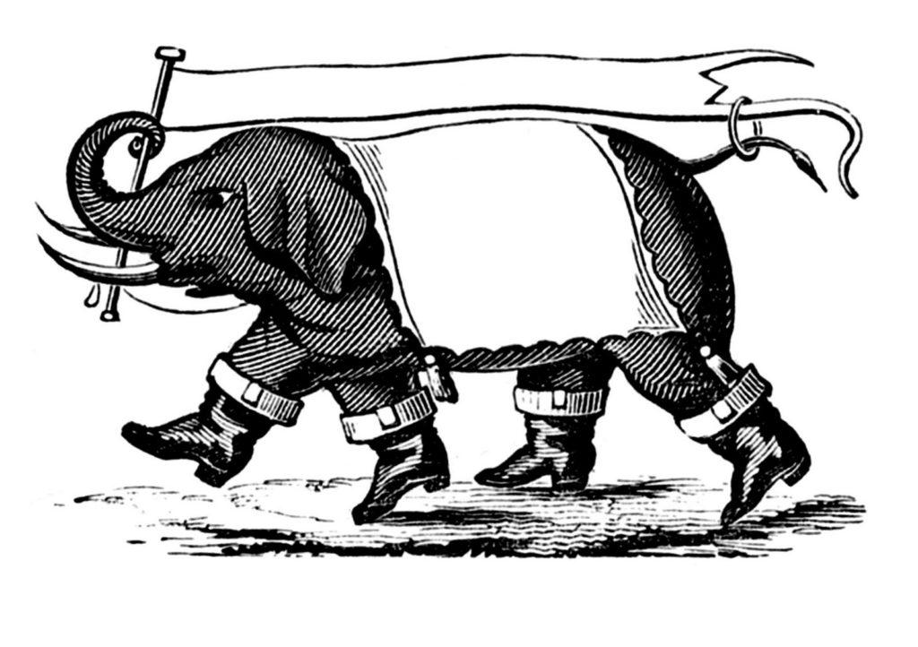 elephant banner boots black white clip art