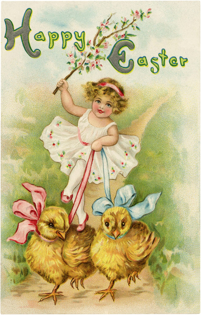 Easter girl chicks ribbon image